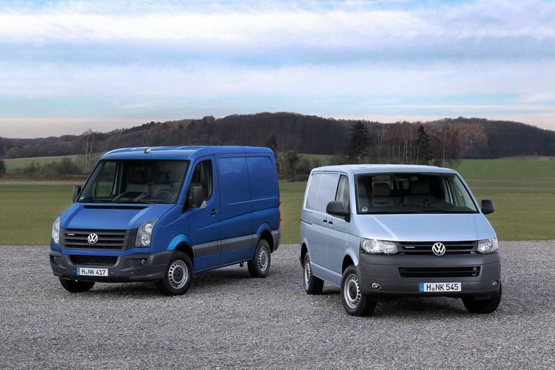Die Heckansicht des VW Transporter und Crafter