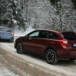 Der Subaru XV in der Heckansicht bei Schnee