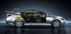 Der Lexus GS 450h in der Seitenansicht mit Blick in den Innenraum