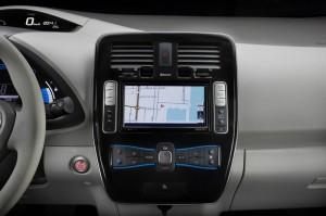 Die Mittelkonsole von Nissan Leaf - Innenraum