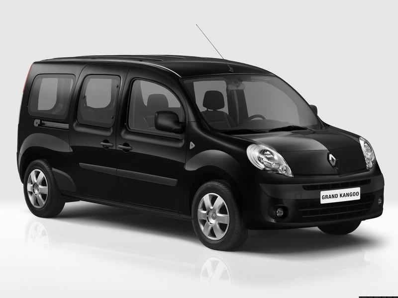 Renault Grand Kangoo in schwarz in der Front- Seitenansicht