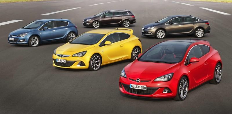 Die Opel Astra-Baureihe mit fünf Modellen