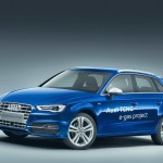 Blauer Audi A3 Sportback TCNG e-Gas Project