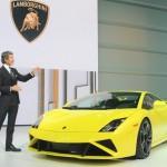 Gelber Lamborghini Gallardo auf der Paris Motor Show 2012