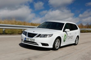 Saab 9-3 E-Power in Weiss