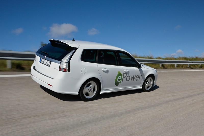 Die Heckpartie des Elektroautos Saab 9-3 E-Power