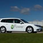 Die Seitenpartie des Saab 9-3 E-Power