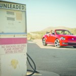 VW Beetle Cabrio in Rot (Standansicht)