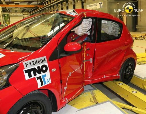 So sah der Toyota Aygo nach dem Crashtest aus