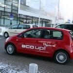 Das Volkswagen-Erdgasauto Eco-Up in der Seitenansicht