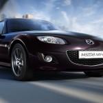 Die Frontpartie eines Mazda MX-5 Sondermodells, genannt Hamaki in Festivalschwarz Metallic
