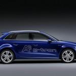 Blauer Audi A3 Sportback G-Tron in der Seitenansicht