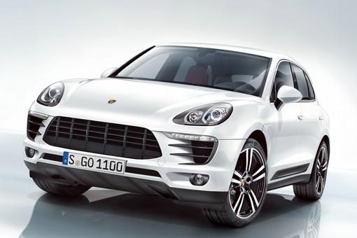 Porsche Macan in Weiss in der Frontansicht
