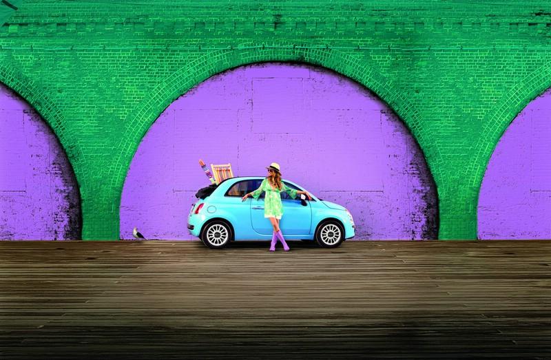Fiat 500 Sole in der Außenfarbe Volare-Blau
