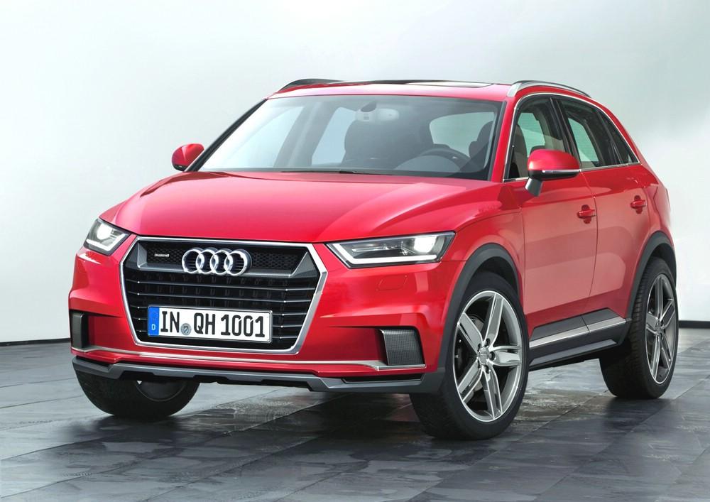 Audi Q1 in rot in der Frontansicht