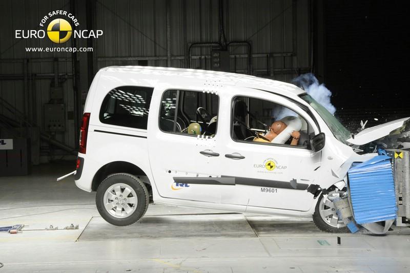 Mercedes-Benz Citan beim Crashtest in der Seitenansicht