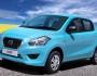 Datsun Go in blau in der Frontansicht