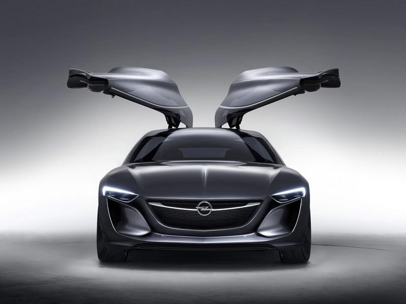 Opel Monza Concept mit Flügeltüren in der Frontansicht