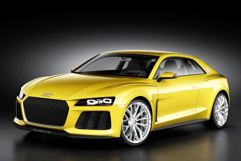 Gelber Audi Sport quattro concept in der Frontansicht