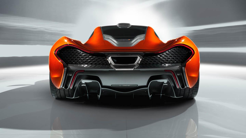 Das Heck des Supersportwagens McLaren P1 (Rot)