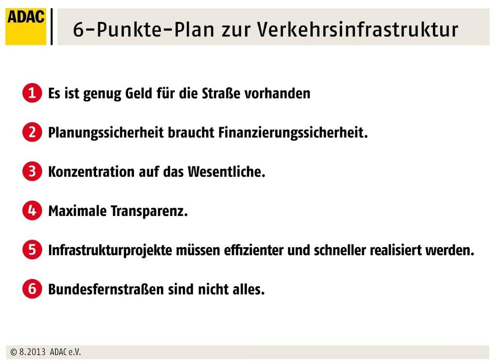6 Punkte Plan zur Verkehrsinfastruktur