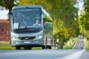 Reisebus Volvo 9900, Fahraufnahme, Frontansicht