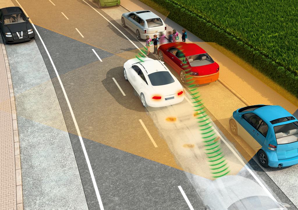Mit entsprechenden Transpondern könnten Autos auch verdeckte Fußgänger oder Radfahrer erkennen