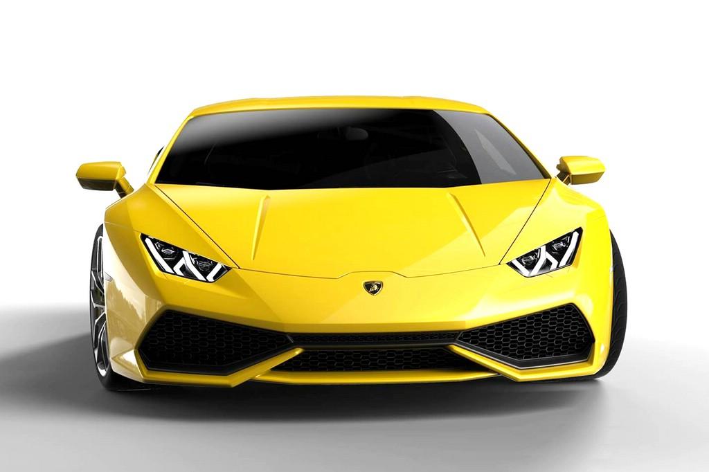 Gelber Lamborghini Huracan in der Frontansicht