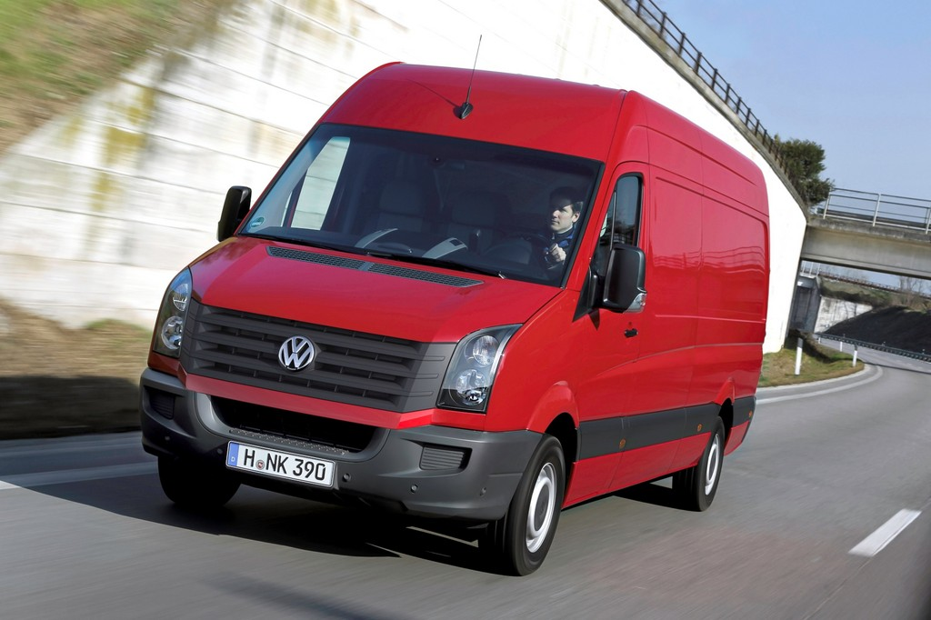 der aktuelle VW Crafter in roter Farbe