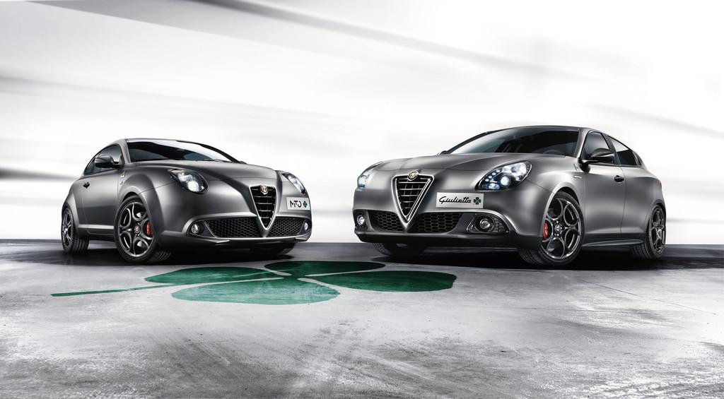 Die Frontpartie der neiden Topmodelle Alfa Romeo Giulietta Quadrifoglio Verde und Mito Quadrifoglio Verde