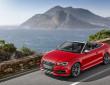 Fahraufnahme vom roten Audi S3 Cabriolet in der Frontansicht