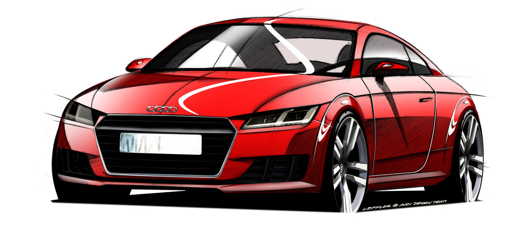 Skizze von der dritten Generation des Audi TT