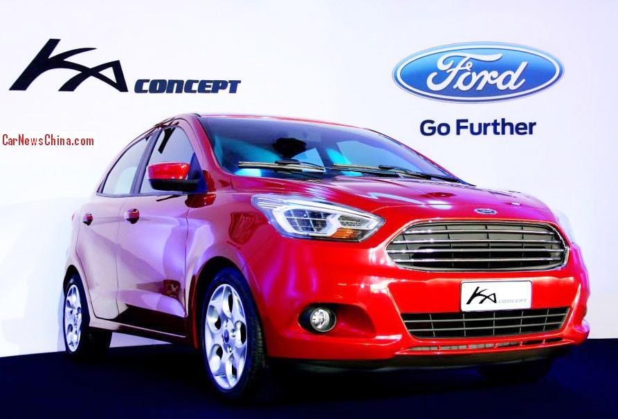 Der neue Ford Ka der Außenfarbe rot