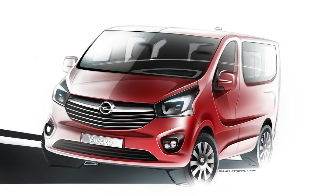 2014 Opel Vivaro skizze in rot, Frontansicht