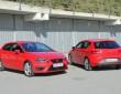 Roter Seat Leon Cupra zweifach nebeneinander