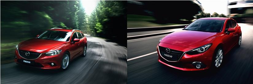 Mazdas Kompaktwagen und Mittelklassefahrzeug Mazda3 und Mazda6