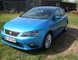 Hellblauer Seat Leon 1.2 TSI Modelljahr 2014 in der Frontansicht