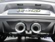 Die doppel Auspuffrohre des 400 PS starken VW Golf R 400