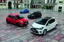 Toyota Yaris Facelift 2014 in verschiedenen Farben, wie rot, weiß, schwarz und blau