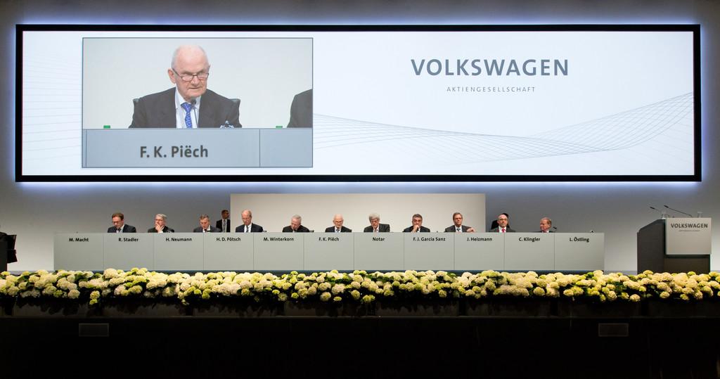 Volkswagen-Hauptversammlung im Jahr 2014 mit Winterkorn und Co