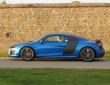 Audi R8 LMX in Blau in der Seitenansicht