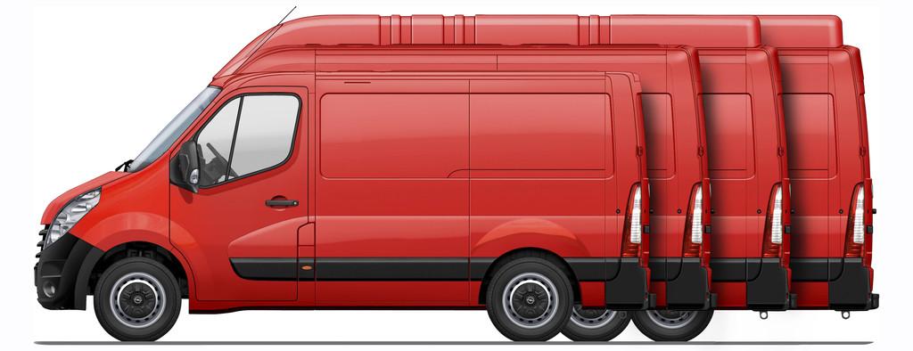 Roter Opel Movano 2014 in rot in verschiedenen längen