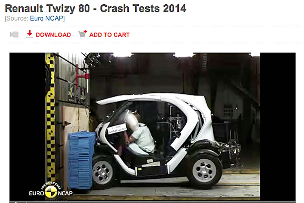 Das Elektroauto Renault Twizy 80 wird beim EURO NCAP gecrasht