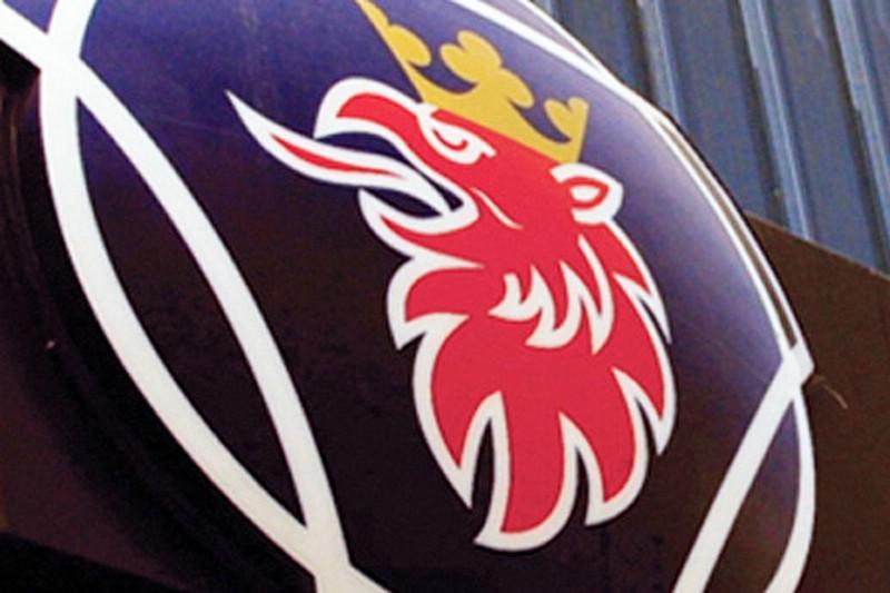 Das Logo des Nutzfahrzeugmarke Scania