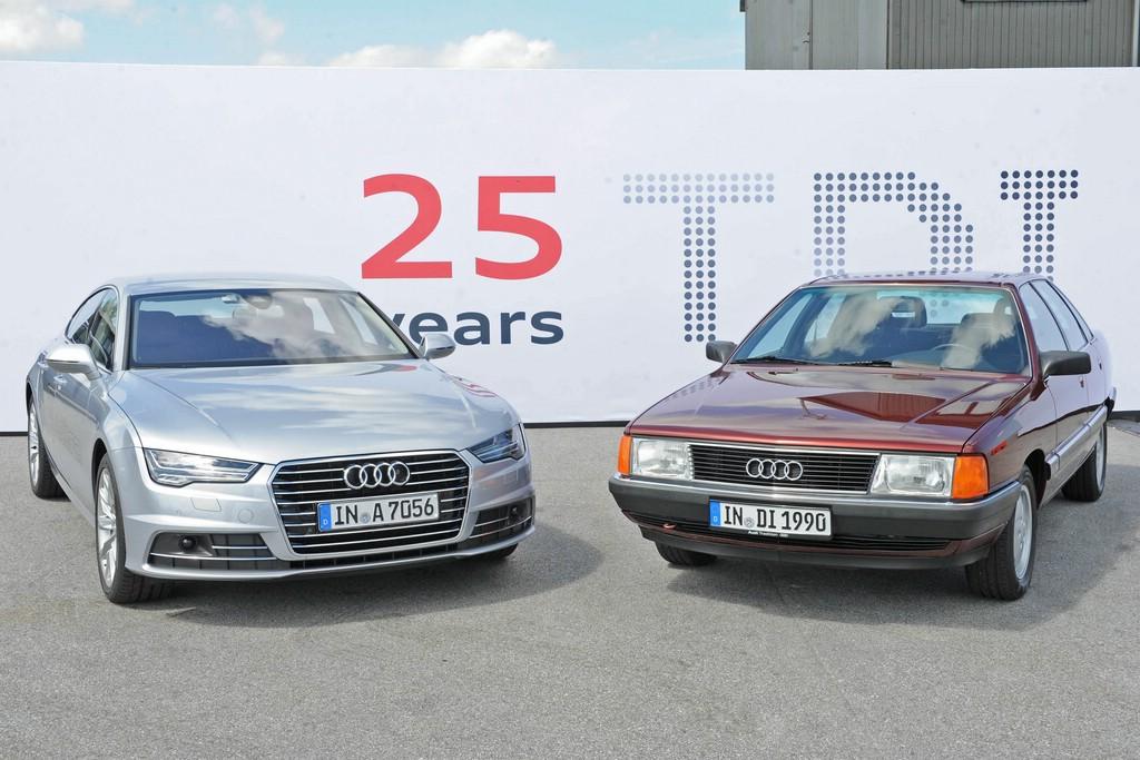der Audi 100 2.5 TDI aus dem Jahr 1989 und der aktuelle A7 Sportback 3.0 TDI.