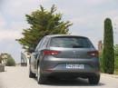Gasauto Seat Leon 1.4 TGI in grau in der Heckansicht