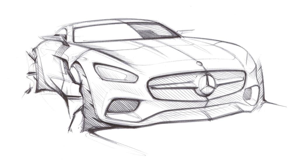 Erste Skizze zum Supersportwagen Mercedes-AMG GT