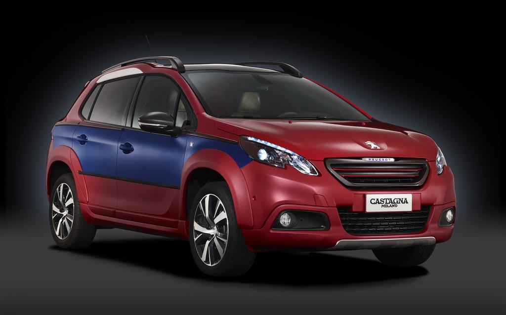 Peugeot 2008 Castagna in Rot, Blau und Weißer Außenfarbe