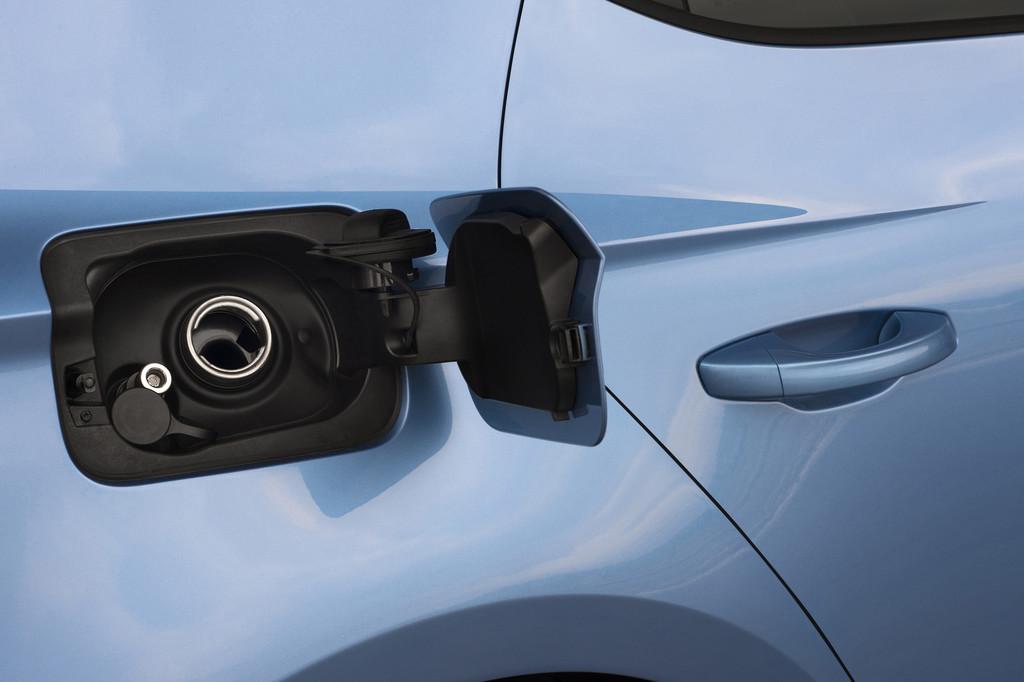 Die Tankklappe des Erdgasbetriebenen Seat Leon ST