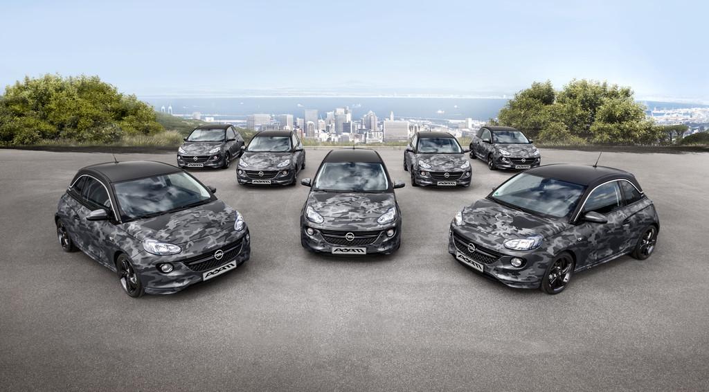 Alle sieben Opel Adam Sondermodelle by Bryan Adams nebeneinander